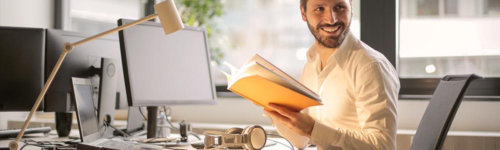 Man holding file folder